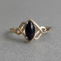 10K Solid GOLD Ring BLACK Onyx Vintage Rings Art Deco Solitaire Midi, Womens Genuine Gemstone Jewelry, Size 5.5, Hallmarks, Gift for Her
