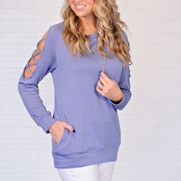 * Brittanie Top With Arm Detail And Pockets : Blue