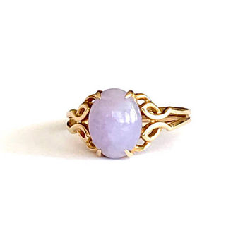 Lavender Jade 14k Ring,  585 Yellow Gold, Oval Shape Gemstone, Vintage 1970s, Double Band, Open Work Designs, Size 6 3/4, Vintage Jewelry