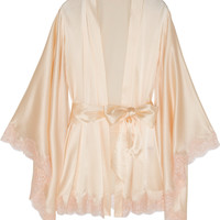 Agent Provocateur - Abbey lace-trimmed stretch-silk satin robe
