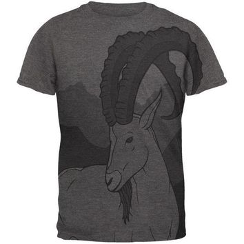 MDIGCY8 Ibex Goat Wild Mountains All Over Dark Heather Soft Adult T-Shirt