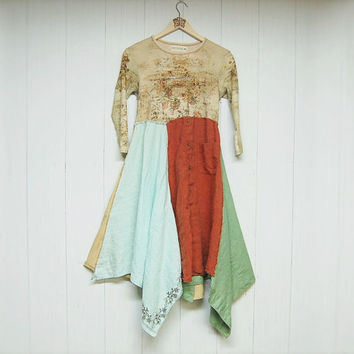 Artsy Boho Chic Dress, Funky Hippie Dress, Urban Chic Dress, Eco Friendly Upcycled Clothing, Anthropologie Free People Inspired