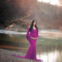 New Style Maternity Photography Props Maxi Maternity Gown Cotton Maternity Dress Maternity Fancy Photo Shooting Pregnant Dress