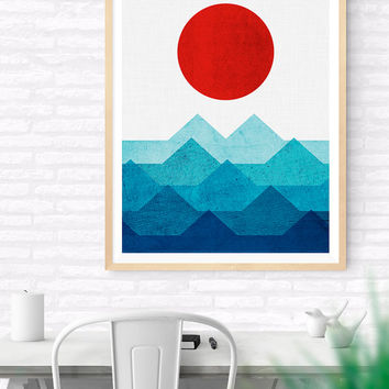 Geometric Sea and Sun Printable, Geometric Art, Geometric Scenery, Geometric art, Colorful Geometrical art, Living Room Art, Geometric Print