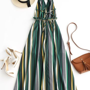 *Online Exclusive* Striped Halter Maxi Dress
