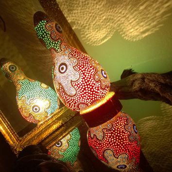 Gourd Lamp 5 Shade Night Light Unique Unusual Cool Birthday Gift Idea Home Bedroom Decor Wall Art Gourd Lamp Night Light Boho Home Decoration