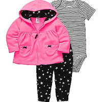 Product: Carter's® Baby Girls' Pink/Black 3-pc. Hooded Cardigan Set