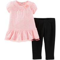 Child of Mine by Carter's Newborn Girl Tunic and Leggings Outfit Set - Walmart.com