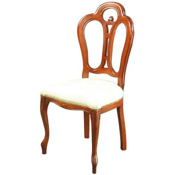 Pre-owned Italian Rococo Style Dining Chair in Ivory Damask