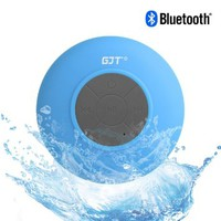 GJT Wireless Bluetooth Waterproof Portable Shower Speaker 3.0 with Built-in Mic and Suction Cup - Blue
