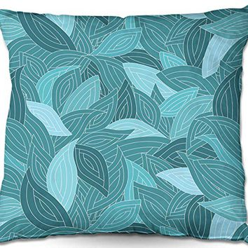 Decorative Outdoor Patio Couch Throw Pillows from DiaNoche Designs BBQ Garden Outdoor Ideas by Julia Grifol Blue Leaves II