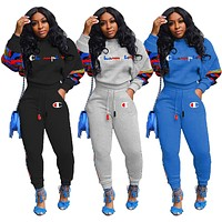Champion Women's Patchwork Camouflage Letter Print Two-Piece Set