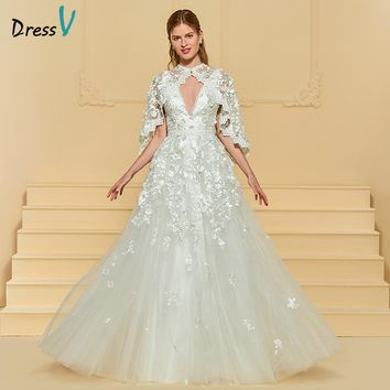 Dressv Ivory Long Wedding Dress With Jacket Tulle Appliques Lace Flowers Illusion Elegant Garden Church Custom Wedding Dress