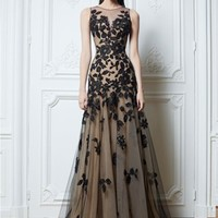 Black Applique Evening Formal Prom Party Cocktail Dresses Wedding Gown Custom