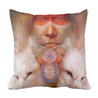Native American with white Wolf's Pillow