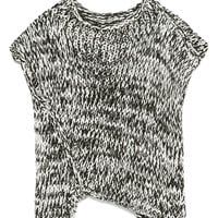 Variegated Raglan Sleeve Asymmetric Hem Knit Jumper