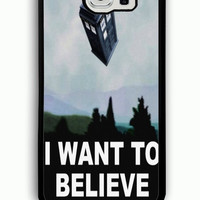 Samsung Galaxy S6 Case - Hard (PC) Cover with tardis dr who i want to believe Plastic case Design