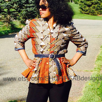 African Blazer/Ankara Jacket/ African Clothing/ African Fabric/ Fashion/The African Shop /Handmade/Bel Style Jacket US 10/12