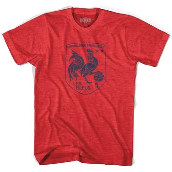 France Rooster Shield 2018 World Cup Champions Adult Tri-Blend Soccer T-shirt