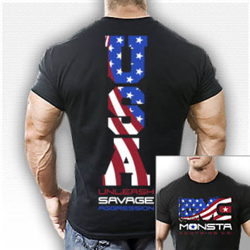 (USA) Unleash Savage Aggression-23 T-Shirt-Black Bodybuilding, Powerlifting, Weightlifting and Workout Clothing [M-TEE-023-BK] - $24.99 : Monsta Clothing Co, Bodybuilding Clothing, Powerlifting Apparel, Weightlifting Shirts, Workout Clothes and MORE