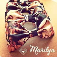 Marilyn Monroe vintage print handmade fabric hair bow or bow tie