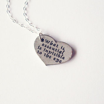 Little Prince Quote Necklace Silver Heart Charm by dreamsbythesea