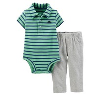 Carter's Stripe Polo Bodysuit & Sweat Pants Set - Baby