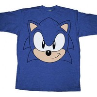 Sonic the Hedgehog Big Face Blue Heather Adult T-shirt - Sonic the Hedgehog - | TV Store Online