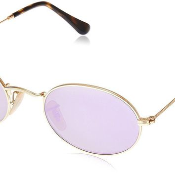 Ray-Ban RB3547N 001/8O Oval Gold Frame Lilac Mirror 51mm Lens Sunglasses