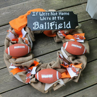football wreath, football mom, football sign, burlap football wreath, burlap football door hanger, custom football wreath, football coach