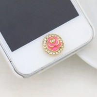 Rose Diamond Bordered Iphone Crystal Home Return Keys Buttons Sticker For iPhone 4S iPhone 5 iPod Touch iPad
