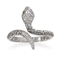 """Lilith"" Sterling Silver Snake Ring"