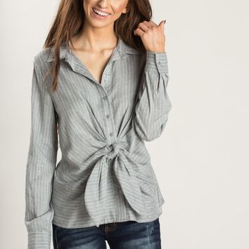 Noelle Grey Stripe Knotted Button Up