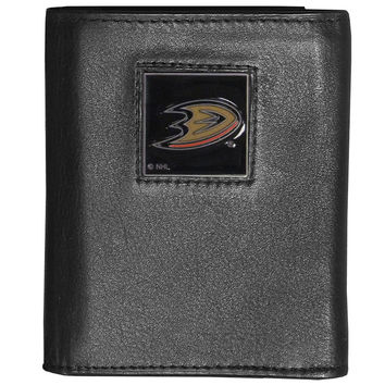 NHL Team Deluxe Leather Tri-fold Wallet Packaged in Gift Box