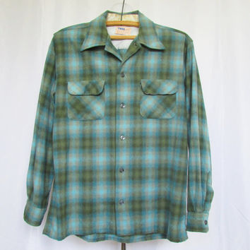Shadow Plaid Shirt Vintage 60s Flannel Troy of California L