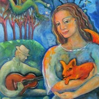 Fox with Woman and Man Playing Guitar - Fine Art Giclee Print 8 x 10