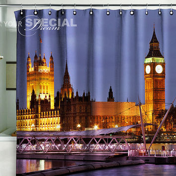 Bath Shower Curtain London city Britain Big Ben