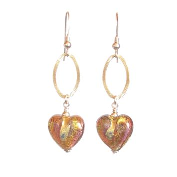 Topaz Heart Dangle Gold Earrings, Leverback Earrings and Clip ons