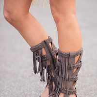 Hit The Note Fringe Grey Gladiator Sandals