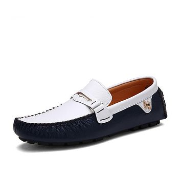 Genuine Leather Loafers Slip On Shoes