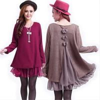 New Casual Loose Long Sleeve Top Shirt  Womens Knit Wool Mini Dress Blouse  7_S