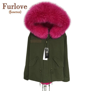Women Winter Army Green Jacket Coats Thick Parkas Plus Size Real Raccoon Fur Collar Hooded Outwear