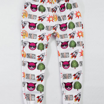 White Rocket Smiley Devil Emoji Print Jogger Pants