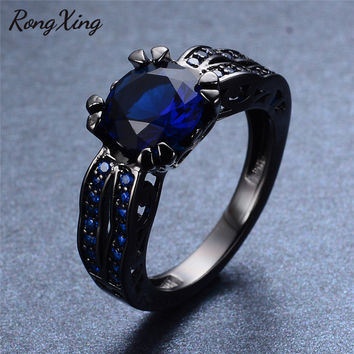 RongXing Vintage Hollow Round Blue Zircon Rings For Women Wedding Birthday Black Gold Filled September Birthstone Ring RB0120