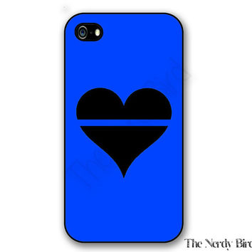 Thin blue line heart iPhone 4, 5, 5c, 6 and 6 plus and Samsung Galaxy s3, s4 and s5 phone case