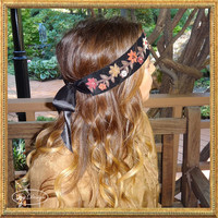 Handmade Black Velvet and Satin Hand Beaded Headband and/or Sash with Fall Colored 3D Suede Flowers