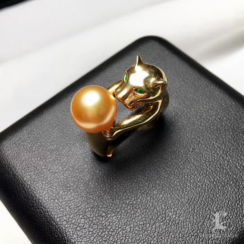 10 mm Golden South Sea Pearl Ring, 18k Gold w/ Diamond - AAAA
