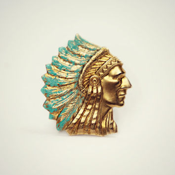 indian chief ring, blue ring, feather ring, tribal ring, unique ring, statement ring, head dress ring, native american ring