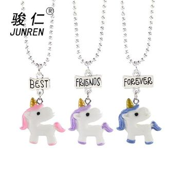 New 3Pcs/Set Unicorn Necklace Jewelry Best Friend Forever Charms Kids Choker Necklace for Boys and girls Pendants Birthday Gifts