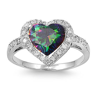 Sterling Silver Simulated Mystic Rainbow Topaz Heart Halo